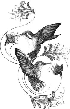 Emily Carter - Hummingbirds & Honeysuckle Giclée Print A3 #UltraCoolTattoos