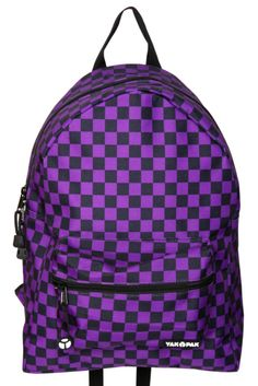 a26068a30f Yak Pak Black And Purple Checkered Backpack