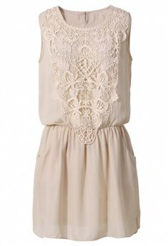 Crochet Chiffon Dress in Nude Pink
