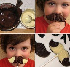 piruletas de bigotes chocolate