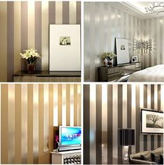gold stuff on sale at reasonable prices, buy Non-woven black white silver gold glitter striped wallpaper roll papel de parede for livingroom bedroom backgound wall decor from mobile site on Aliexpress Now! White And Silver Bedroom, White And Gold Decor, Silver Walls, Gold Walls, Bedroom Black, Black Decor, Gold Striped Walls, Gold Striped Wallpaper, Glitter Wallpaper Bedroom