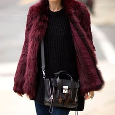 Burgundy faux fur makes a serious statement. // Follow @ShopStyle on Instagram to shop this look