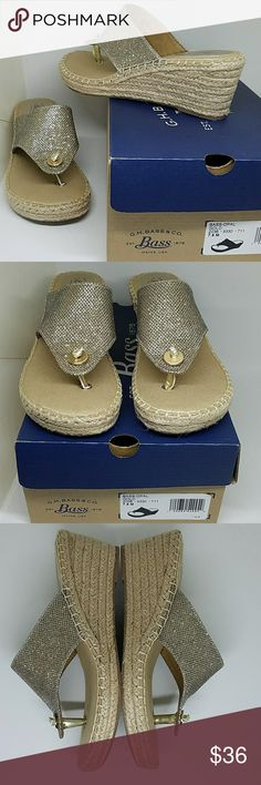 """Brand New in Box Bass Wedge Sandals Gorgeous & Classy New Bass Wedge Opal Gold Shimmer Sandals. Size 7 1/2. Wedge is Approximately 2 1/2"""" with 3/4"""" Platform. These are  Glistening in The Sun. Has a Nautical Flare. Bass Shoes"""