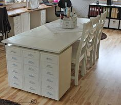 "ikea table & helmer drawers combine for great ""desk""/project table"