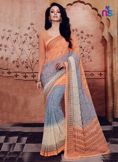 You will be the center of attention in this attire. Look stunningly beautiful in this grey {fabric} casual saree. This lovely attire is looking extra beautiful with embelishment of print work. Cotton Sarees Online Shopping, Saree Shopping, Sarees Online India, Silk Sarees Online, Latest Indian Saree, Latest Sarees, Indian Outfits, Indian Clothes, Simple Sarees