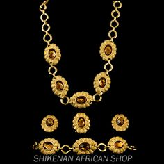 Floral Yellow Rhinestone Jewelry Set, get this jewelry set from Shikenan African Shop http://www.africanshop.shikenan.com/african-fashion