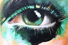 Acrylic Painting on Canvas - Contemporary Eye Painting, Editorial Eyes, Green Abstract Eye Painting, Portrait Painting by LidasPaintingShop on Etsy