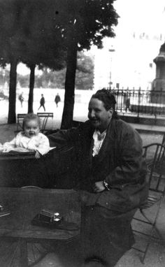 """Gertrude Stein is babysitting """"Bumby"""" (son of Hemingway) in the Luxembourg Gardens"""
