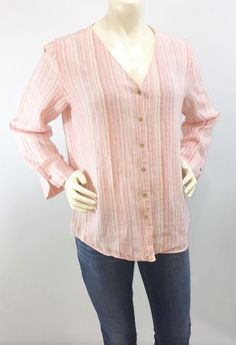 e60575c70d2 J Jill Medium Top 100% Linen Pink Striped Button Down Shirt V-Neck Long