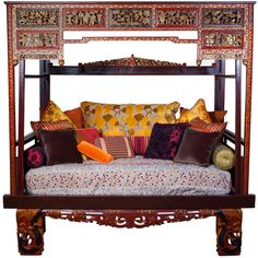 Chinese Opium Bed ❤ liked on Polyvore featuring home, furniture, beds, bed, asian, bedding, filler, chinese furniture, chinese bed and gilt furniture