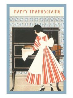 Art Print: Happy Thanksgiving, Woman Cooking Poster : 24x18in