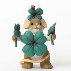 Enesco Charming Tails Lucky Figurine, by What's luckier than a four leaf clover. Great for St. Patrick's day and year round Irish fans. St Paddys Day, St Patricks Day, St Pattys, Irish Fans, Irish Leprechaun, Monkey Doll, Disney Traditions, Cute Mouse, Clay Miniatures