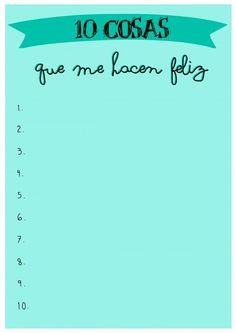 Printable-10 cosas que me hacen feliz                                                                                                                                                                                 Más
