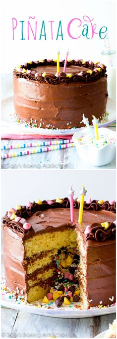 How to Make a Piñata Cake-- does it get ANY better than this? From scratch recipe on sallysbakingaddiction.com @sallybakeblog