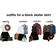 """""""18: outfits for a black skater skirt"""" by preciouseatspoop on Polyvore"""