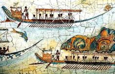 Akrotiri - Island of Santorini - Fresco of minoan fleet Century BC. The original was in the shrine room of the West House, or Admiral's house, that I used as Leira's house in Swallow's Dance. Greek History, Ancient History, Art History, European History, Ancient Aliens, American History, Minoan Art, Bronze Age Civilization, Mycenaean