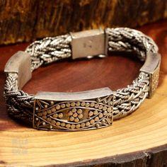 "Sterling Silver - HEAVY BALI Studded Eye Wheat 78g - Bracelet (8"") Mens IH8291"