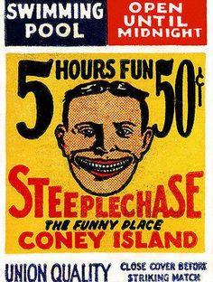 1920's - Steeplechase - Coney Island - New York - Matchbook Advertising Poster