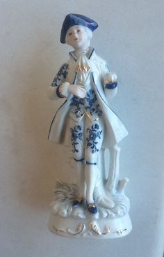 Vintage Blue White Porcelain Victorian Figurine On Etsy 25 00 Country