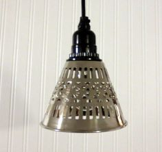 Columbia Bay. Chrome Metal Cutwork Hanging PENDANT by LampGoods