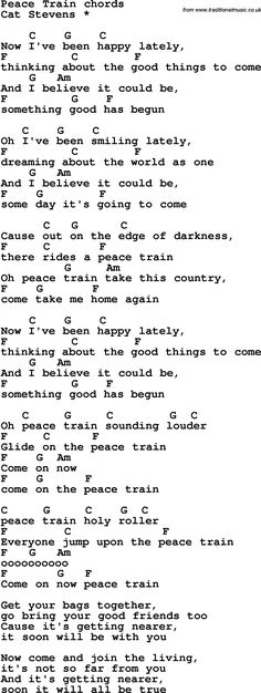 Rock and pop song lyrics with chords for Peace Train Pop Song Lyrics, Guitar Chords And Lyrics, Pop Songs, Music Guitar, Easy Ukulele Songs, Easy Guitar Tabs, Ukulele Tabs, Train Lyrics, Guitar Chord Chart