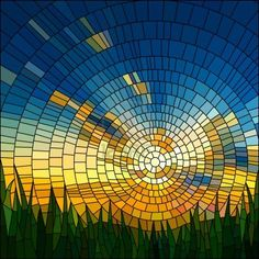 Vector illustration of sunset in blue sky in grass stained glass window  Stock Photo