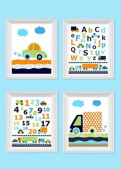 Transportation Nursery Art Car Nursery Decor by SweetPeaNurseryArt Car Nursery, Baby Nursery Bedding, Baby Boy Nurseries, Nursery Themes, Nursery Decor, Nursery Artwork, Baby Bedroom, Boy Decor, Kids Decor