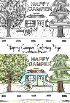 Happy Camper Coloring Page