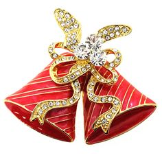 Red Christmas Bell Bow Crystal Pin Brooch - Fantasyard Costume Jewelry & Accessories