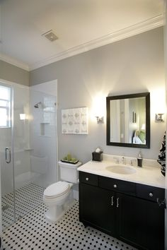 Grey And Black Bathroom Design Ideas, Pictures, Remodel, and Decor - page 6 Small Bathroom Redo, White Bathroom Tiles, Bathroom Paint Colors, Grey Bathrooms, Bathroom Layout, Beautiful Bathrooms, Modern Bathroom, White Wall Tiles, Paint Colours