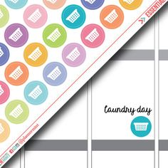 Laundry Basket Planner Stickers - Dot Icon - Erin Condren Life Planner - Happy Planner - Clothing - Cleaning - Matte or Glossy