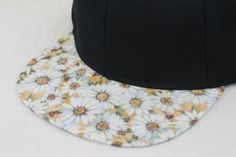 White Floral Snapback Hat, Blank Cap, Daisy Print on Brim