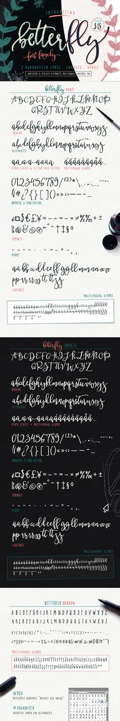 BetterFly - 3 modern fonts & swashes ~ Script Fonts on Creative Market Handwritten Fonts, Script Fonts, Typography Fonts, Serif Font, Calligraphy Letters, Modern Calligraphy, Learn Calligraphy, Caligraphy, Inspiration Typographie