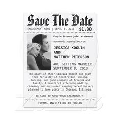 Newspaper Save The Date