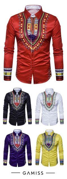 Geometric National Print Long Sleeve Shirt African Shirts For Men, African Clothing For Men, African Attire, African Wear, African Style, African Inspired Fashion, African Fashion, Uniform Shirts, Men's T Shirts