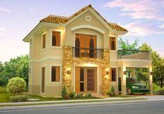 fachada de casas de dos pisos pequeñas hermosa #casaspequeñascampo