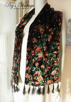 Vintage Black Velveteen Floral Scarf/Burnout by PegsVintageShop