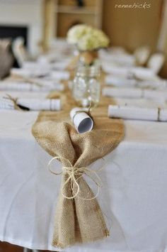 Via my friend Renee's Baby Shower -- CUTE and cheap idea for table runners for the wedding.