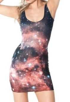 EAST KNITTING Fashion BL-097 2014 new womans digital printed RED GALAXY DRESSES Women summer Vest tops