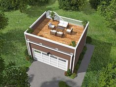 """<ul><li>Get a spacious roof top deck with this two car garage plan.<br></li><li>The stairs to the roof are outside in back and there's a rear man door into the garage too.<br></li><li><b>Related Plan</b>: Get a different exterior with plan <a href=""""https://www.architecturaldesigns.com/house-plans/garage-with-roof-top-deck-68437vr"""">68437VR</a>.</li></ul>"""
