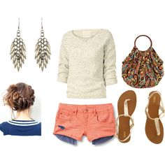 beachy, created by lauren-anne-pro on Polyvore.. Love those shorts!!