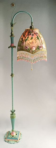 Nightshades -Victorian Lampshade with Rose Embroidery - Idil Pirim - Welcome to the World of Decor! Victorian Lamps, Victorian Bedroom, Antique Lamps, Vintage Lamps, Vintage Lighting, Antique Furniture, Bedroom Furniture, Baker Furniture, Bedroom Vintage