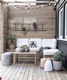Outdoor Spaces, Outdoor Living, Outdoor Decor, Outdoor Walls, Outdoor Sofa, Wooden Panelling, Design Jardin, Backyard Patio Designs, Online Furniture Stores