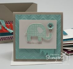 Stamping T - Patterned Occasions Thank you Card. Great idea for elephant lovers.
