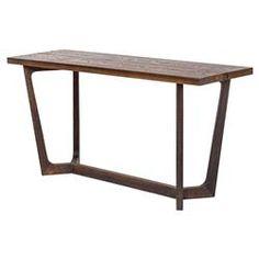 Jaxon Industrial Loft Rustic Burnt Oak Wood Console Table   Kathy Kuo Home