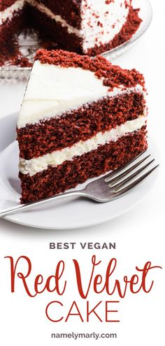 The most AMAZING Vegan Red Velvet Cake is moist, soft, cake, topped with a simple homemade vegan cream cheese frosting. This easy red velvet cake has a perfect velvet buttery texture! This homemade red velvet cake is instantly recognizable with its bright red color offset by a white, creamy frosting. #namelymarly #redvelvet #vegancake #veganredvelvet #redvelvetcake #velvetcake Homemade Red Velvet Cake, Vegan Red Velvet Cake, Easy Red Velvet Cake, Vegan Dessert Recipes, Vegan Sweets, Just Desserts, Cupcake Recipes, Wacky Cake Recipe, Vegan Cream Cheese Frosting