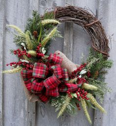 Holiday Wreath, Woodland Country Christmas, Plaid Bow.
