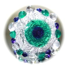 Button ~ Peacock Eye, NOT Set In Metal, Foil, Sheet & Sheath Overlay, Clear Base, Lampworked by KPHoppe ~ Large by KPHoppe on Etsy