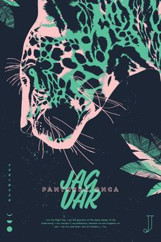 Jaguar by Jonathan Violassi |  Type Hike's new series, Alphabeast, focuses on 26 endangered creatures of North America. All proceeds from this series directly benefit Defenders of Wildlife.