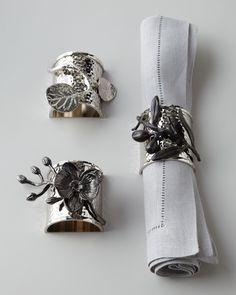 "Michael Aram ""Botanical Leaf,"" ""Olive Branch,"" & ""Black Orchid"" Napkin Rings - Neiman Marcus"